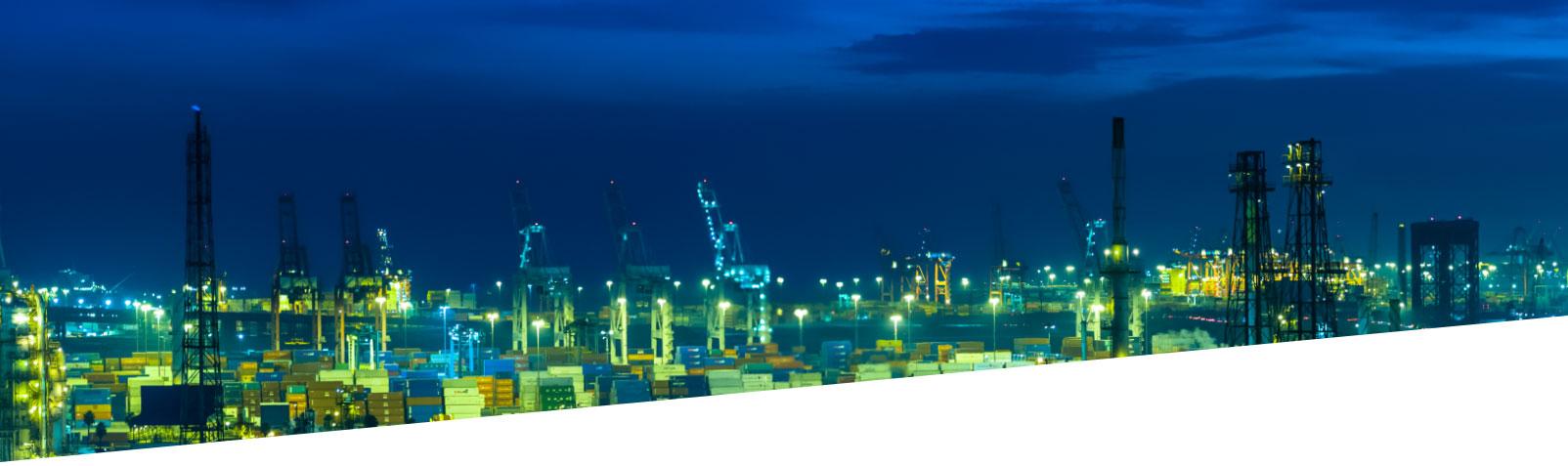 energy processing facility at night
